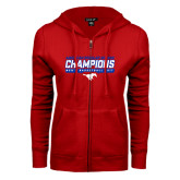 ENZA Ladies Red Fleece Full Zip Hoodie-2017 AAC Regular Season Champions - Mens Basketball Stencil