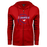 ENZA Ladies Red Fleece Full Zip Hoodie-2017 AAC Conference Champions - Mens Basketball Contour Lines