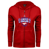 ENZA Ladies Red Fleece Full Zip Hoodie-2017 AAC Conference Champions - Mens Basketball Arched Banner