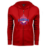 ENZA Ladies Red Fleece Full Zip Hoodie-2017 AAC Conference Champions - Mens Basketball Arched Net