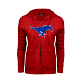 ENZA Ladies Red Fleece Full Zip Hoodie-Official Outlined Logo