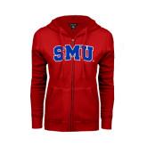 Ladies Red Fleece Full Zip Hoodie-Block SMU