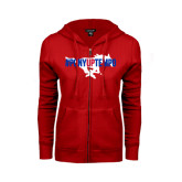 ENZA Ladies Red Fleece Full Zip Hoodie-#PonyUpTempo Flat