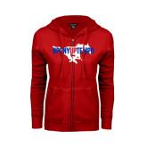 Ladies Red Fleece Full Zip Hoodie-#PonyUpTempo Flat