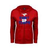 ENZA Ladies Red Fleece Full Zip Hoodie-Pony Up Tempo Stacked
