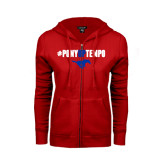ENZA Ladies Red Fleece Full Zip Hoodie-#PonyUpTempo Above Mustang