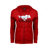 ENZA Ladies Red Fleece Full Zip Hoodie-#PonyUpTempo Lock Arms