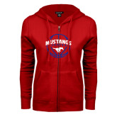ENZA Ladies Red Fleece Full Zip Hoodie-Mustangs Basketball Arched w/ Ball