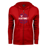 ENZA Ladies Red Fleece Full Zip Hoodie-Mustangs Basketball Lined Ball