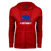 ENZA Ladies Red Fleece Full Zip Hoodie-Mustangs Basketball Dallas Skyline