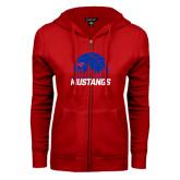 ENZA Ladies Red Fleece Full Zip Hoodie-Mustangs Basketball Dallas Skyline