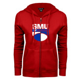 ENZA Ladies Red Fleece Full Zip Hoodie-SMU Basketball Stacked on Ball