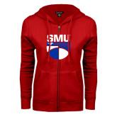 ENZA Ladies Red Fleece Full Zip Hoodie-SMU Basketball Stacked on Ball
