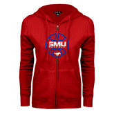 ENZA Ladies Red Fleece Full Zip Hoodie-SMU Basketball Block Stacked in Circle