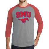 Grey/Red Heather Tri Blend Baseball Raglan-SMU w/Mustang