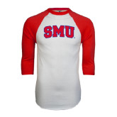 White/Red Raglan Baseball T-Shirt-Block SMU
