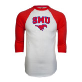 White/Red Raglan Baseball T-Shirt-SMU w/Mustang
