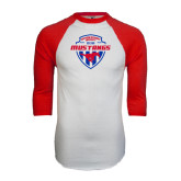 White/Red Raglan Baseball T-Shirt-Mustangs in Shield