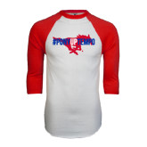 White/Red Raglan Baseball T-Shirt-#PonyUpTempo Flat