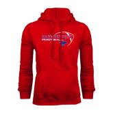 Red Fleece Hoodie-Football Outline Design
