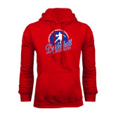 Red Fleece Hoodie-Player on Basketball Design