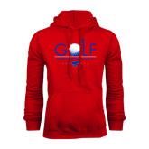 Red Fleece Hoodie-Stacked Golf Design