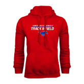 Red Fleece Hoodie-Track and Field Stacked Design