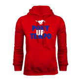 Red Fleece Hoodie-Pony Up Tempo Stacked