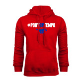 Red Fleece Hoodie-#PonyUpTempo Above Mustang