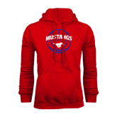 Red Fleece Hoodie-Mustangs Basketball Arched w/ Ball