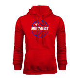 Red Fleece Hoodie-Mustangs Basketball Lined Ball