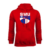 Red Fleece Hoodie-SMU Basketball Stacked on Ball
