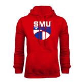 Red Fleece Hoodie-SMU Basketball Stacked on Ball