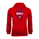 Red Fleece Hoodie-SMU Basketball Block Stacked in Circle