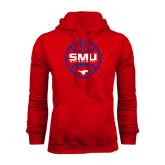 Red Fleece Hood-SMU Basketball Block Stacked in Circle