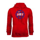 Red Fleece Hoodie-SMU Basketball Block in Circle
