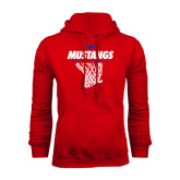 Red Fleece Hoodie-Mustangs Basketball Stacked w/ Net