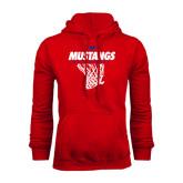 Red Fleece Hood-Mustangs Basketball Stacked w/ Net