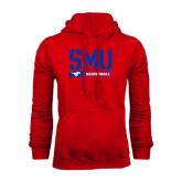 Red Fleece Hoodie-SMU Basketball Stencil