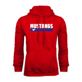Red Fleece Hoodie-Mustangs Basketball Stacked Bar