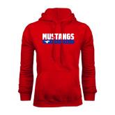 Red Fleece Hoodie-Mustangs Basketball Stacked Bar