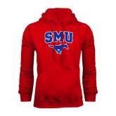 Red Fleece Hood-SMU w/Mustang