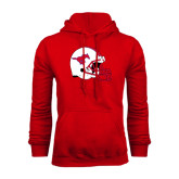Red Fleece Hood-SMU Football Helmet