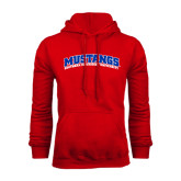 Red Fleece Hoodie-Arched Mustangs