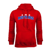 Red Fleece Hoodie-Arched SMU Mustangs