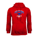 Red Fleece Hoodie-Arched Mustangs w/ Banner