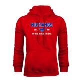 Red Fleece Hoodie-Stacked Mustangs Design