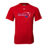 Under Armour Red Tech Tee-Football Outline Design