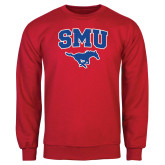 Red Fleece Crew-SMU w/Mustang