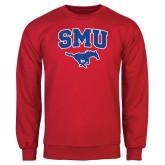 Red Fleece Crew-SMU w/Mustang